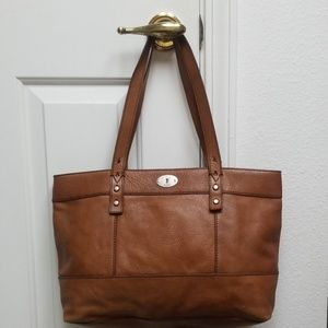 FOSSIL medium cognac brown Leather tote bag